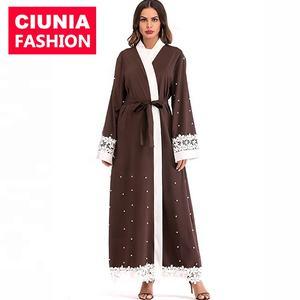 1638 # Dropshipping marron arabie avant ouvert abaya filles islamique vêtements confortables turc manteau style
