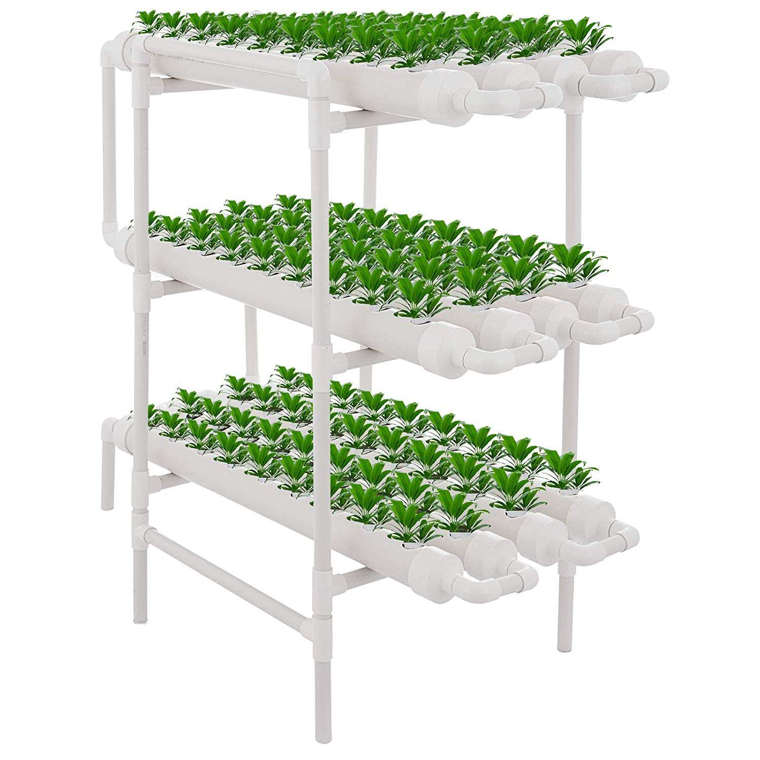 Hydroponics Nft System with 108 Holes Kits,Vertical Hydroponic Growing Systems PVC Tube Plant Vegetable
