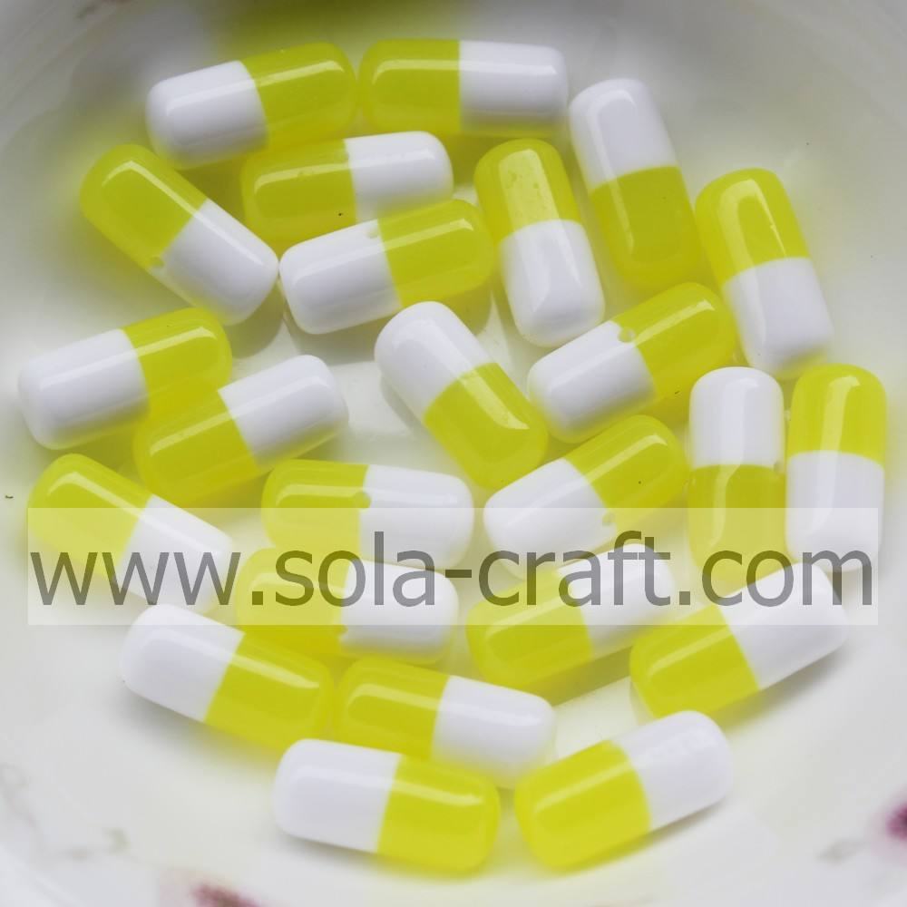 . Yiwu suministra 500 unids 6*12mm <span class=keywords><strong>amarillo</strong></span> y blanco oval resina chunky collar para earring