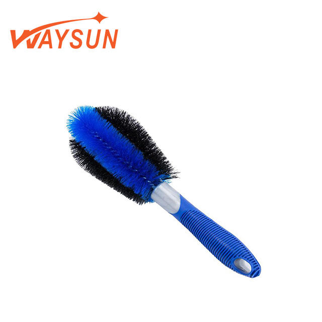 Car Wheel Short Well Handled Brush Non-Slip Comfort Grip Washing Cleaning Tire Brush 360 Attachment