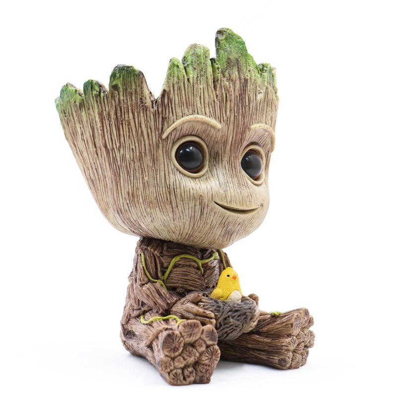 baby Groot flower pot action figure, PVC tree man groot doll, Guardians of the galaxy groot figure toy for gift