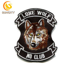 China Factory Free Sample Custom Logo Patch Lone Wolf No Club Embroidery Patch With Iron On
