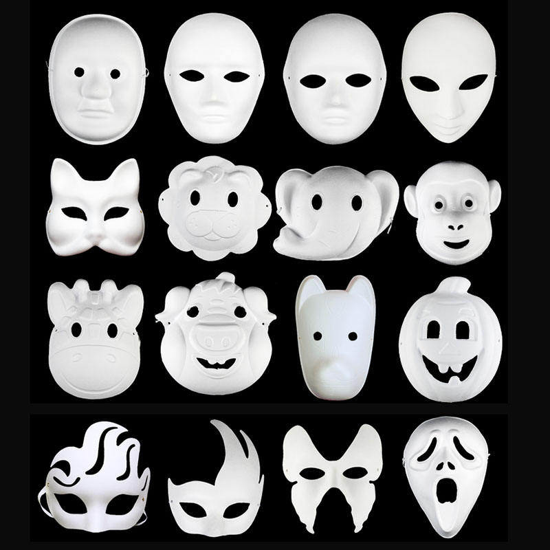 Blank White Painting Mask Handmade Animal Cheap 3d Paper Mask for party