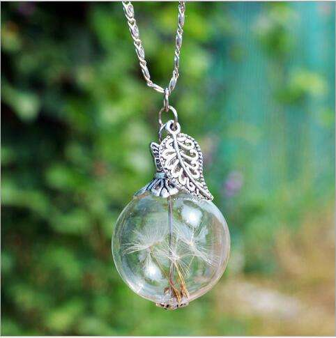 Dandelion real plant jewellery pendant necklace african sample free