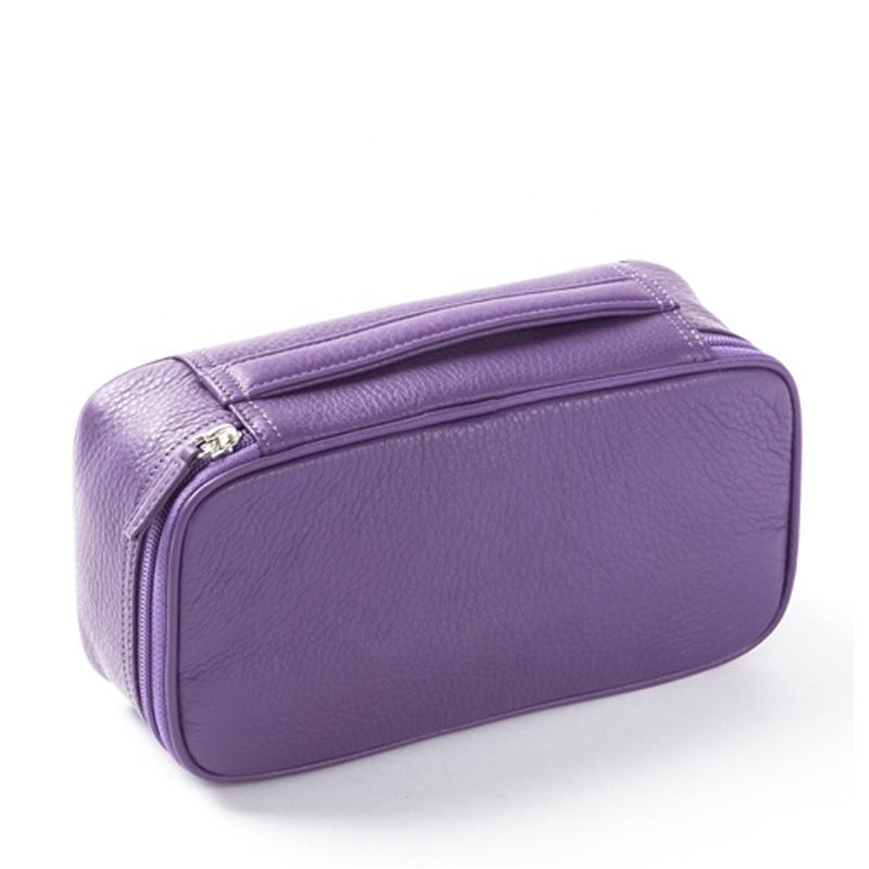 Lederen Toilettas Beauty Case Met Handvat Dames Make-Up Cosmetische Bag