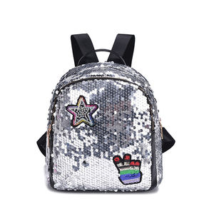 fancy very cheap designer pu lady silver sequin bagpack back pack unique mini little girls school backpacks for student