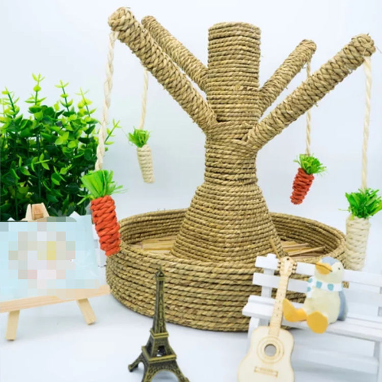 sisal woven straw cat tree with loofah toy/Pet chew toy carrot wooden carrot vegetable toy