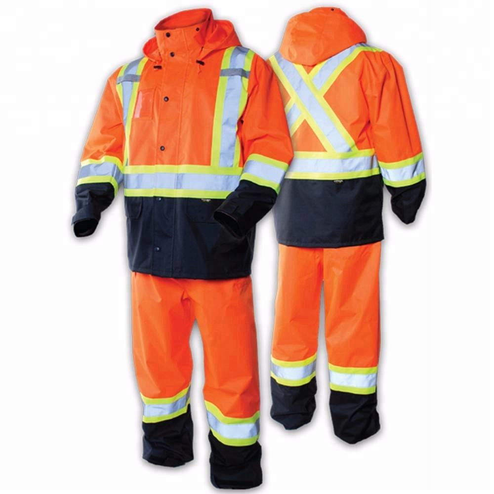 Customized Canada CSA standard reflective safety rainsuit