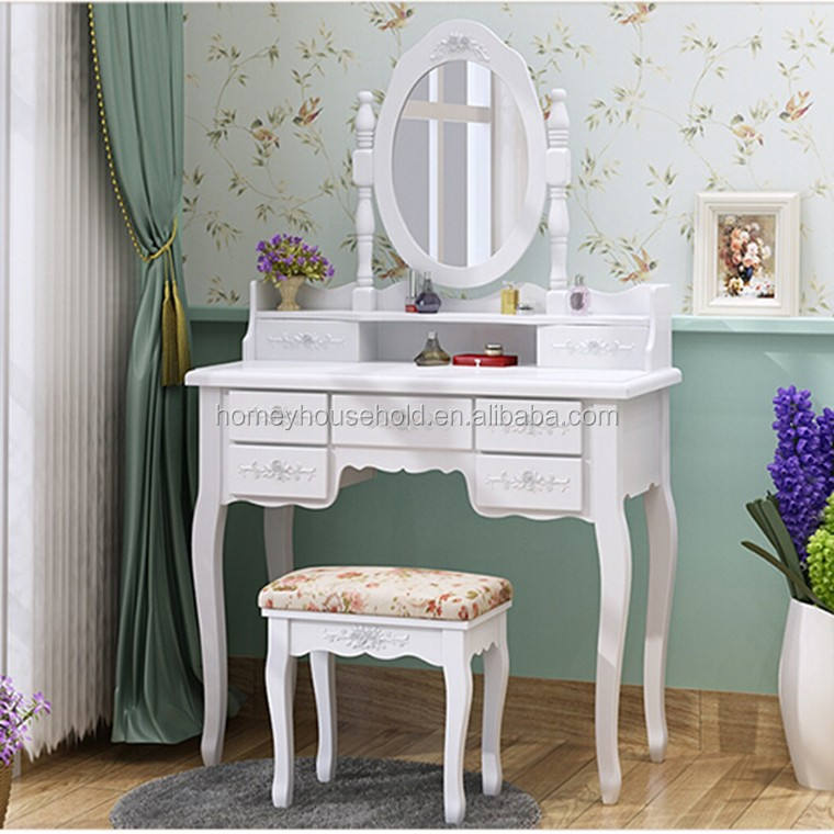Drawer Dressers Cabinet Furniture French Wood MDF Dressing Table with Mirror Stool