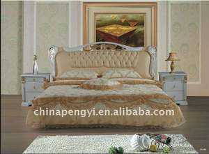 upholstered leather bed YU-021