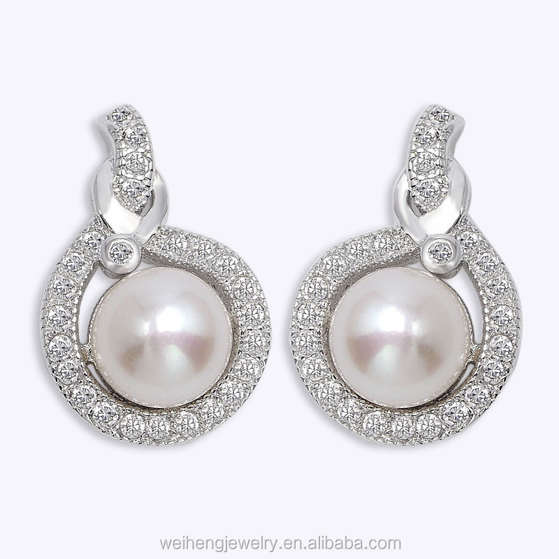 earings for women 2017 Silver 925 jewellery Bezel setting freshwater pearl earring mounting wholesale silver earrings