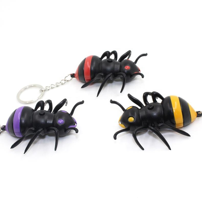 Factory Wholesale ant LED Keychain With Light and Sound,ant LED keyring