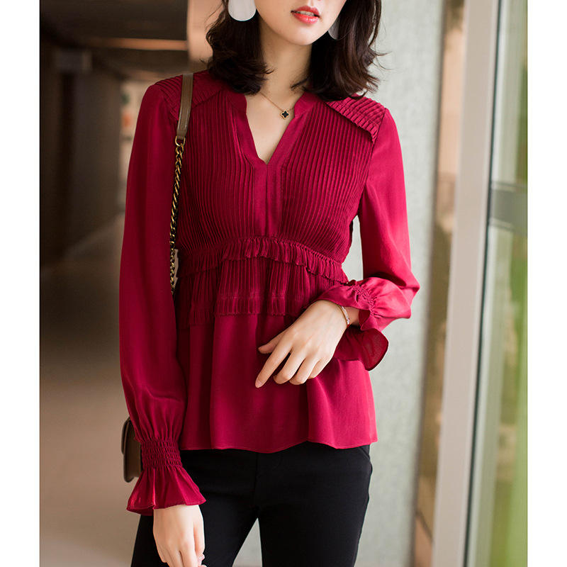 Pretty steps High quality fashion pressure plait long-sleeved v-neck elegant women silk shirt
