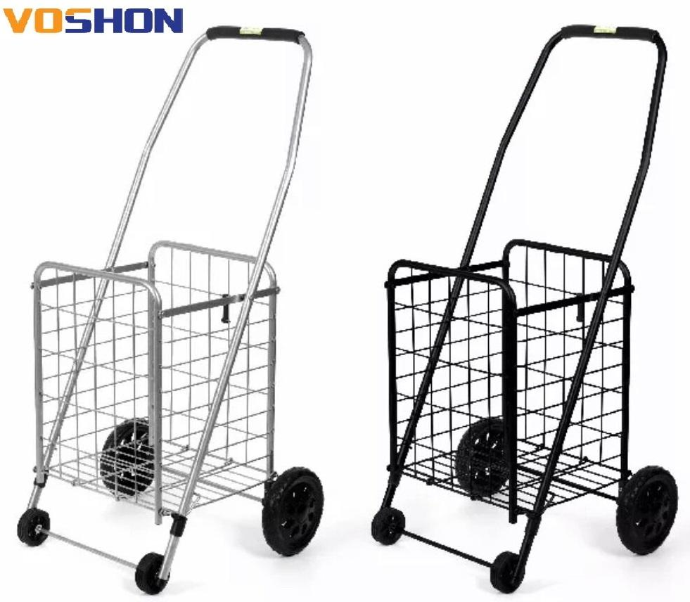 Fashion cheap collapsible wheeled trolley shopping cart foldable shopping supermarket trolleys cart