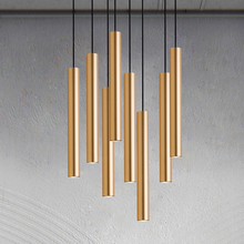 Simple led restaurant chandelier long tube cylindrical art decoration lamp round tube bar single head golden chandelier