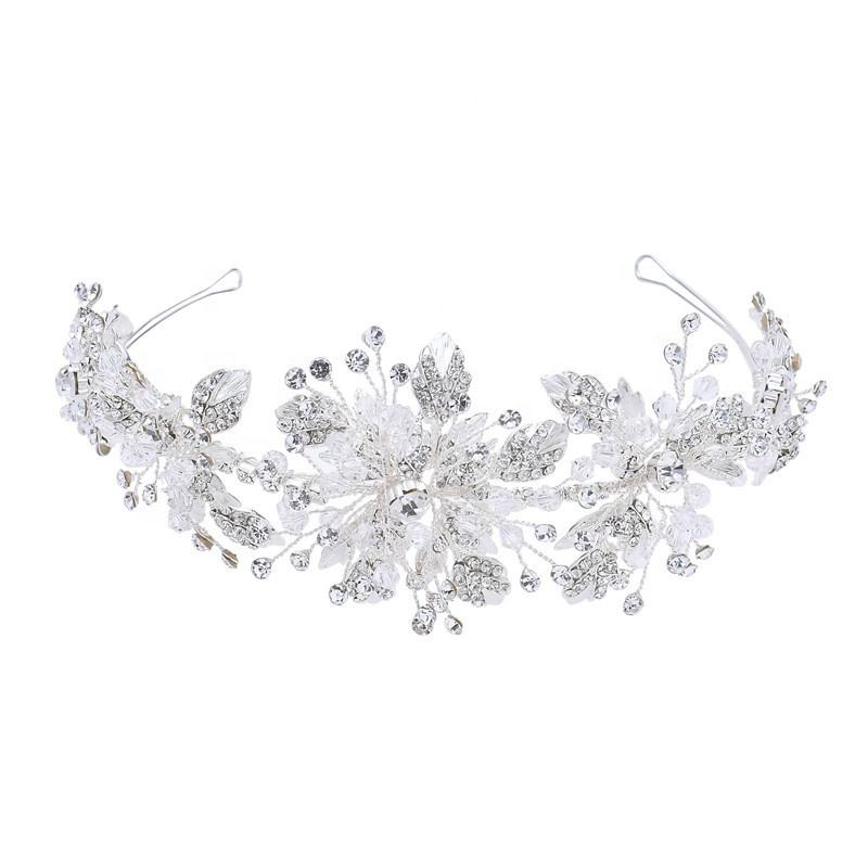 Luxury Handmade Silver Leaves Crystal Headband Hair Accessories Jewelry Wedding Dress Flower Crown Tiara