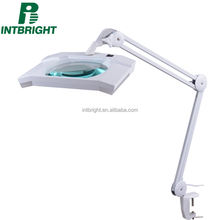 Intbright top selling clamp laboratory diopter desk magnifier glass magnifying led lamp beauty salon