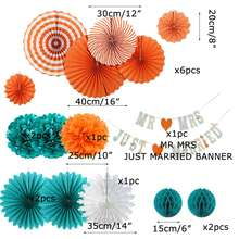 Sunbeauty Party and Event Supplies POMPOMS Paper Fans Hanging Garland for Wedding Party