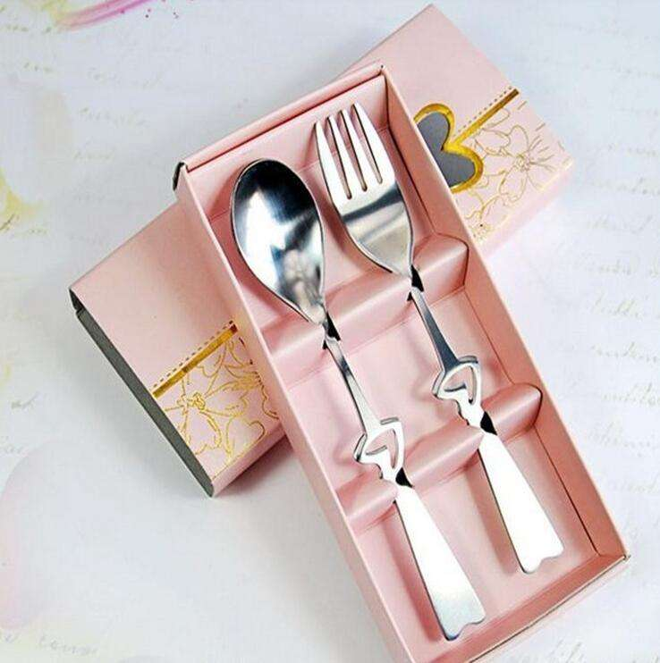 Cheap Price Wedding Favors Gifts Heart Shaped Spoon And Fork Set Wedding Guest Gifts