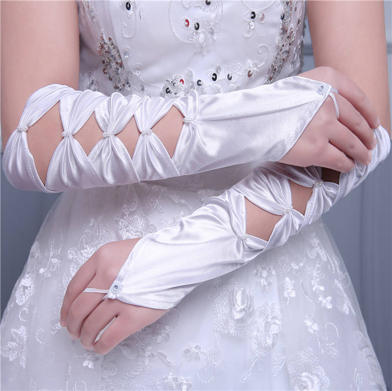 Hot sale white ivory red elbow long cheap long fingerless wedding gloves for bridal MGB5