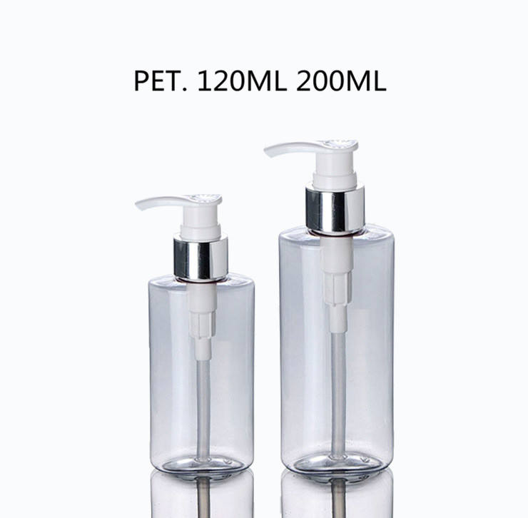 120ml 200ml Cylinder Clear Plastic Sun PET Bottles With Shiny Silver Lotion Pump