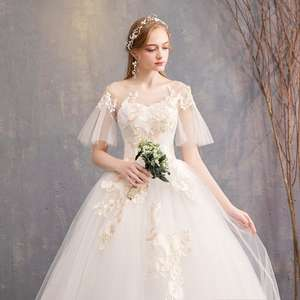 Spring New Trendy Short Flare Bell Sleeve Wedding Dresses Simple O-neck Lace Up Back Wedding Gown