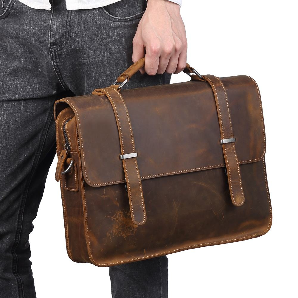 2020 Men Laptop Bag Genuine leather Computer Office Shoulder Bag Men's Bag Handbag Crazy Horse Leather Briefcase