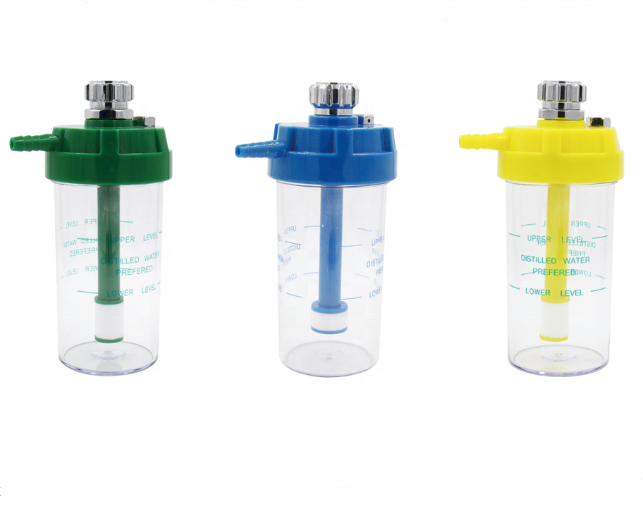 medical humidifier bottle for oxygen regulator concentrator flowmeter