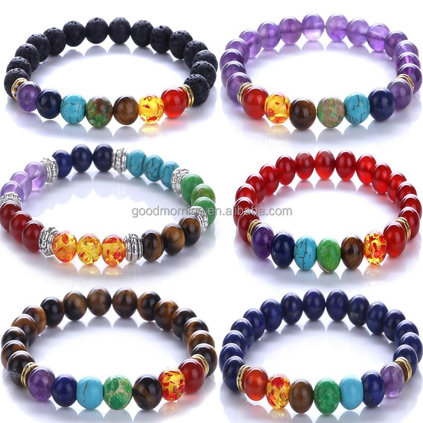 Wholesale 10Pieces 8MM Natural Lava Stone Chakra Yoga Beaded Energy Bracelets