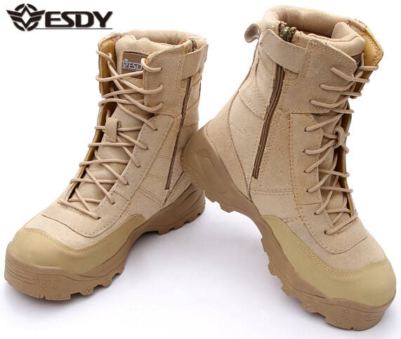 Tan Color leather high-top hiking shoes outdoor boots Army fans Tactical Assault Boots
