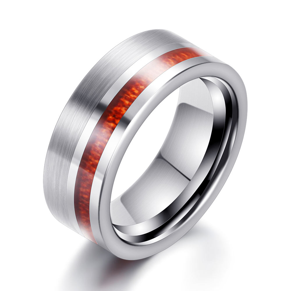 wholesale 8mm Wood Carbon Fiber Tungsten Carbide Ring Mens Wedding Band rings Size 7- 12
