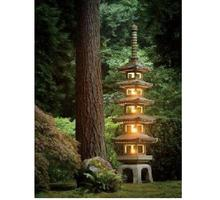 GGP001 Garden Stone Wholesale Japanese Stone Lanterns 5 levels tower