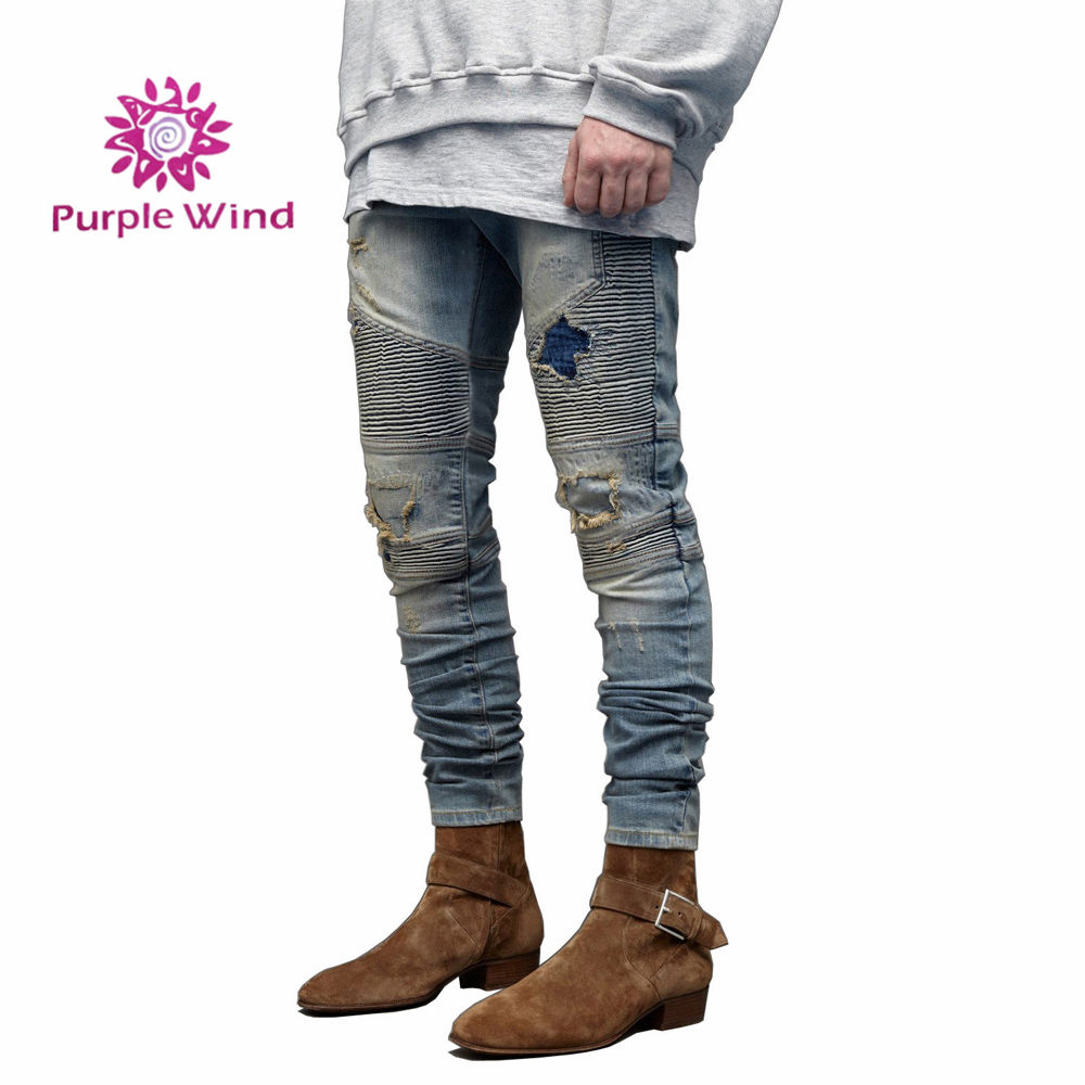 Men's distressed stretch ripped biker jeans refuge blend holes denim jeans