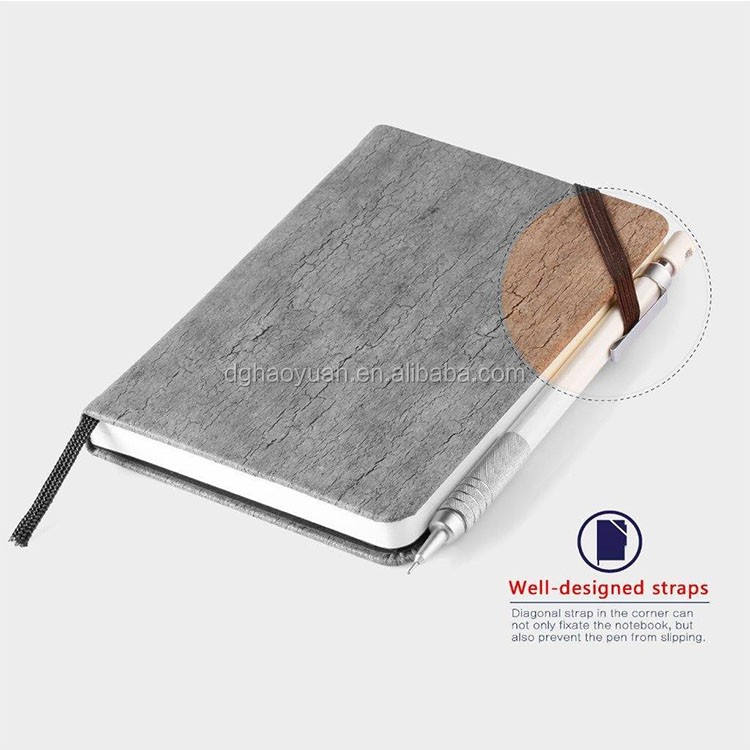 Wood grain PU leather notebook with strap in the corner and envelop pocket on the back
