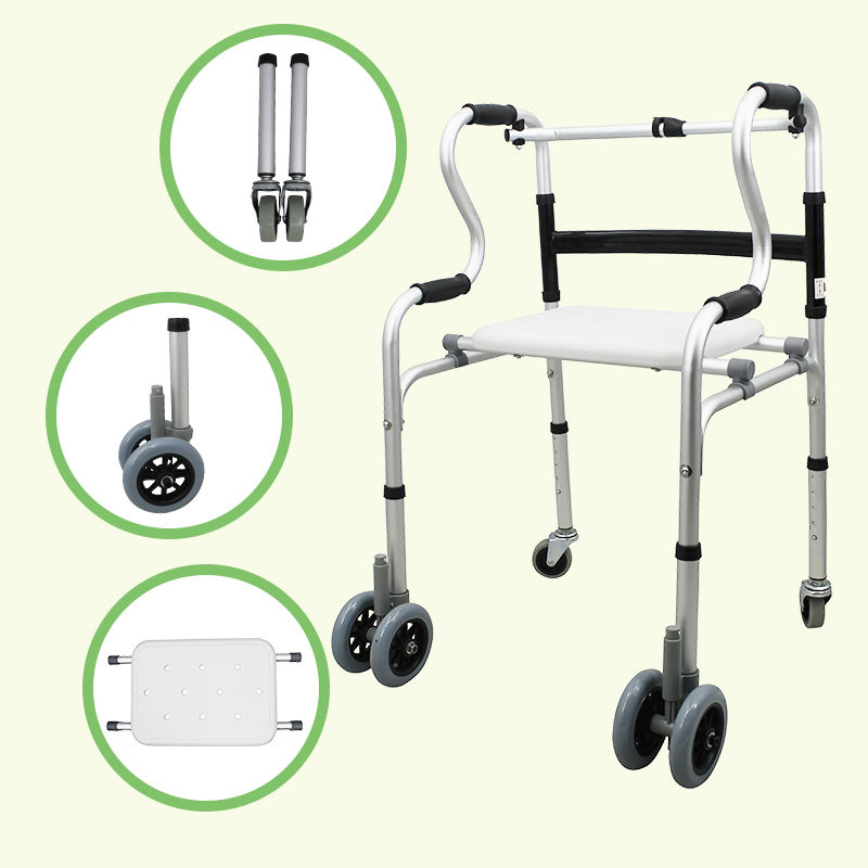 China Factory Lightweight Aluminium Alloy Disabled Rollator Walker 4 Leg Crutch to Malaysia