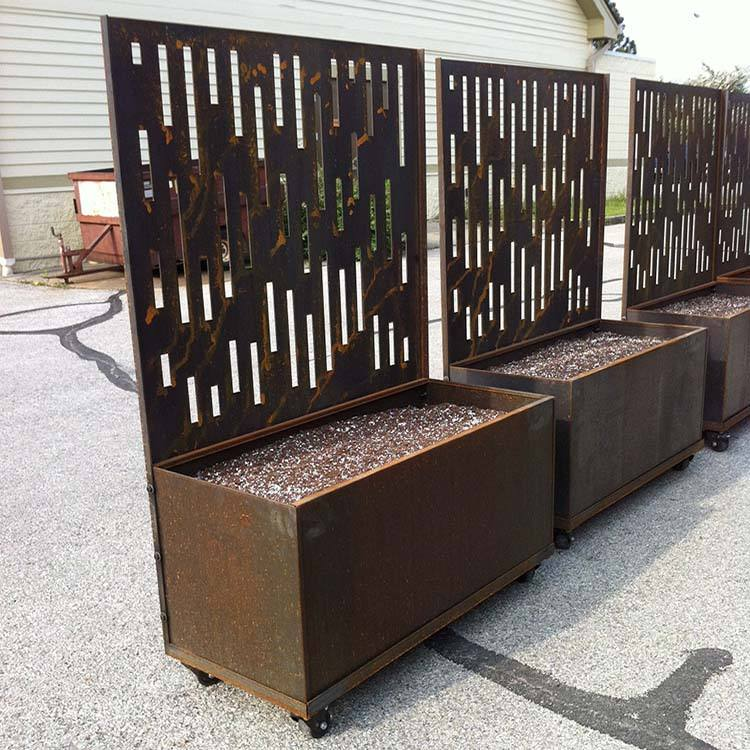 Decorative metal planters / tall square planters / large outdoor planter