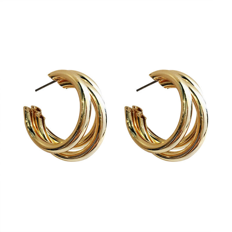 Simple three tier layer chunky 14k gold filled hoop earrings