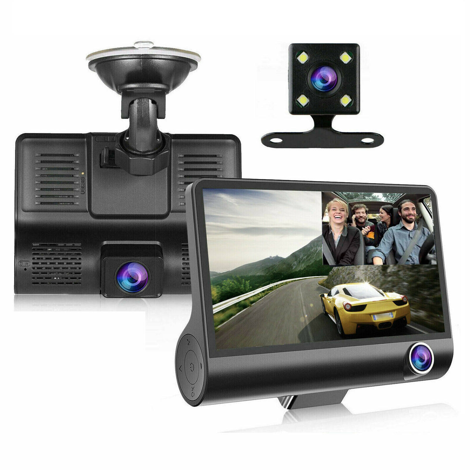 Small Dash Cam 3 Dashboard Camera Recorder 4 Inch Screen Video DVR 3 Ways HD Car Black Box Rearview Car DVR Driving Recorder