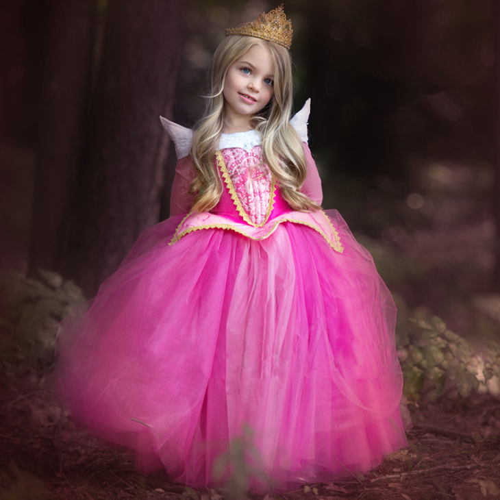YY10572G Pink and blue color aurora princess dress hot sale sleeping beauty aurora costume princess dresses fairy dress