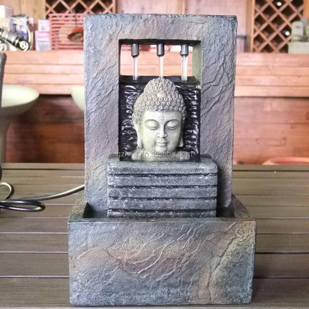 Venda quente Cabeça de Buddha Estátua Do Polyresin <span class=keywords><strong>Fonte</strong></span> De Mesa Antigo