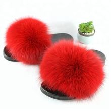 custom summer outdoor kids fluffy slippers real fox fur slides sandal