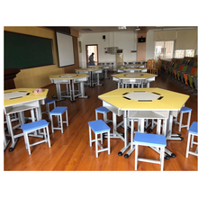 New Design combination student desks and chairs with different shapes School furniture University school furniture