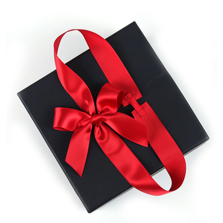 Holiday Custom Satin Ribbon Elastic Bow For Gift Box packaging