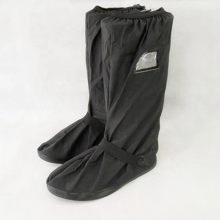 Wholesale PVC Long antislip motorcycle rain shoe cover non slip Overshoes Reusable Waterproof Rain Boot cover with reflector