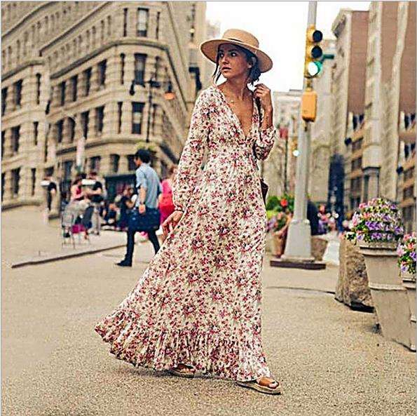 Latest women apparels boho long maxi dress striking plunging v neckline floral print dress tiered flounces