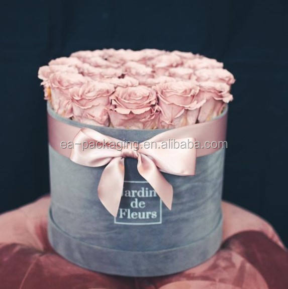 Luxury customised velvet gift box, round rose velvet box, round shape gift box