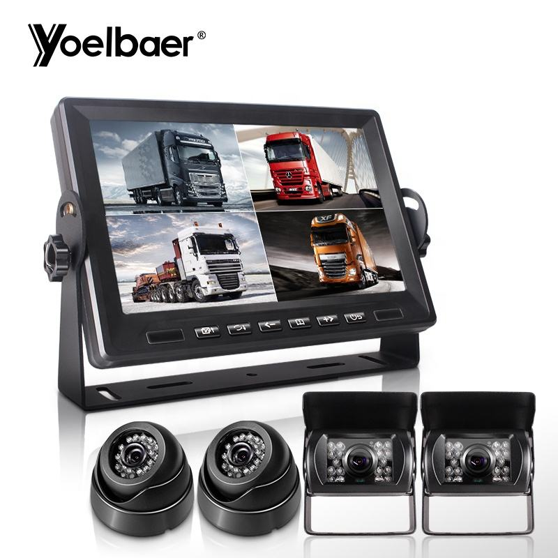 Market Trending CCTV Camera Security System Truck School Bus Parking Monitor 8 inch 4 Channel IPS Screen with Camera