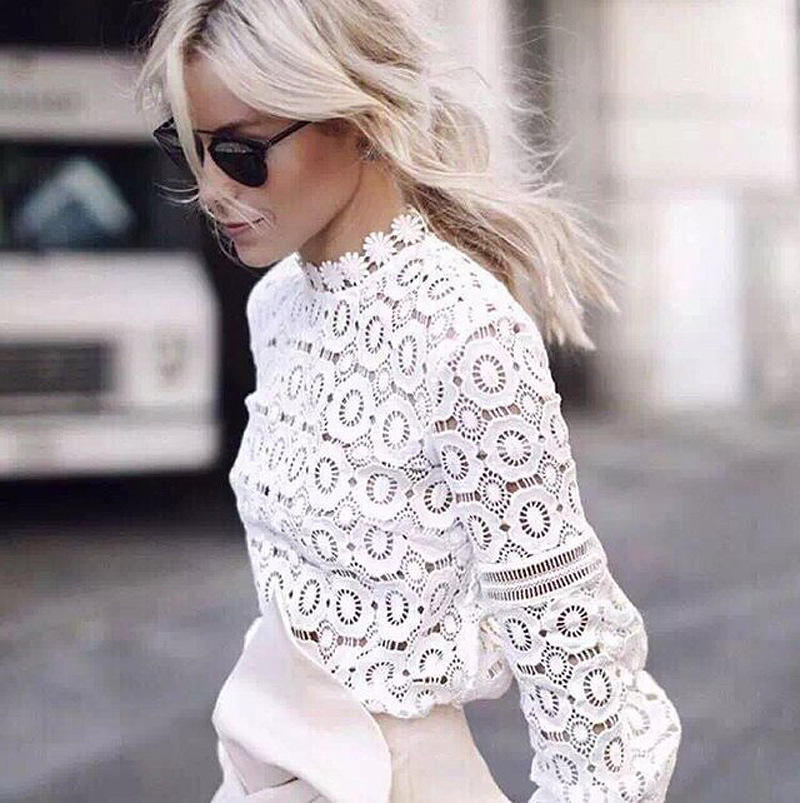 Elegant floral lace blouse shirt Women lantern sleeve white blouse 2016 Autumn winter hollow out short top blouse blusas
