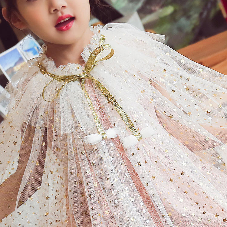 Princess White Sequin Kids Girls Cape For Evening Dress Chiffon
