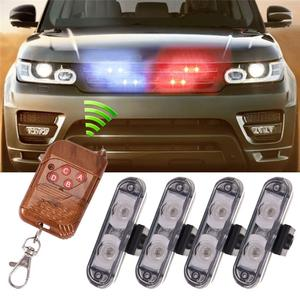 4 In 1 2LED Wireless Remote DC 12V LED Warning Light Mobil Truk Berkedip Lampu LED Strobo Polisi Ambulans cahaya